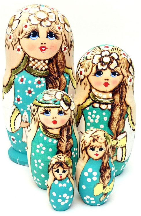 Pale Aqua Artistic Matryoshka Doll