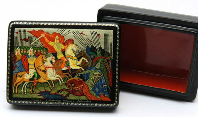 Alexander Nevsky Battle on the Ice Kholui Lacquer Box