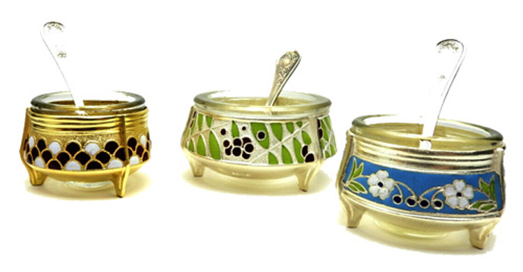 Deluxe Set of Three Russian Enamel Salt Cellars