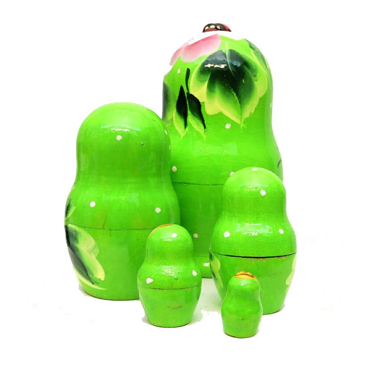 Lime Green Matryoshka with Lady Bug