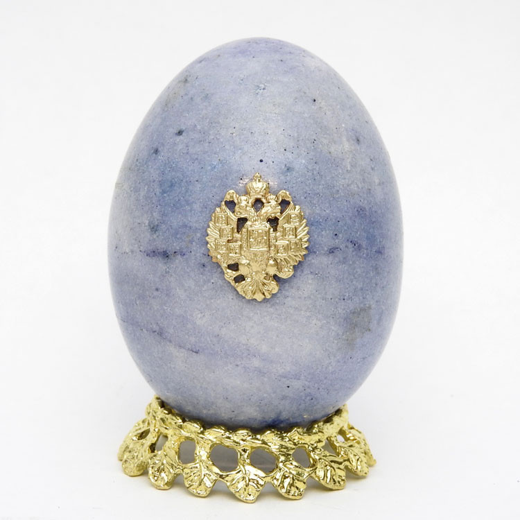 Marble Imperial Russian Eagle Egg Blue