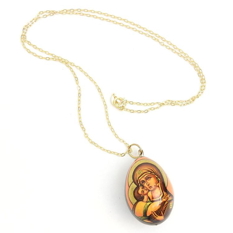 Vladimirskaya Mother of God (Владимирская Богородица) Egg Pendant
