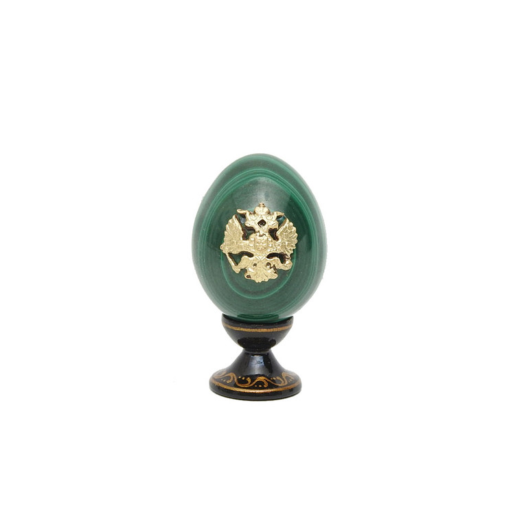 Imperial Russian  Eagle Miniature Malachite Egg MC2