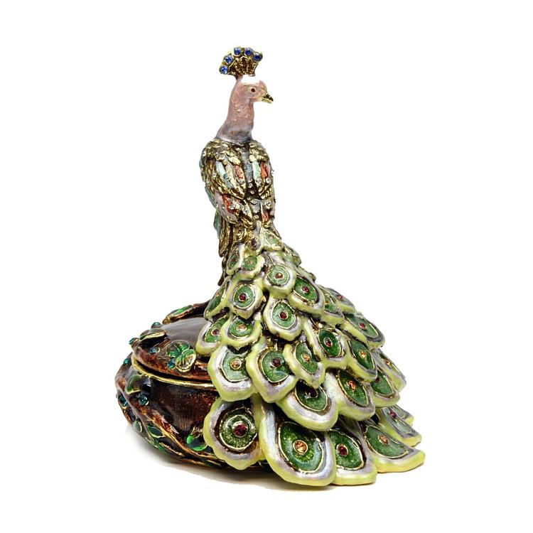 Peacock on Round Jewelry Box