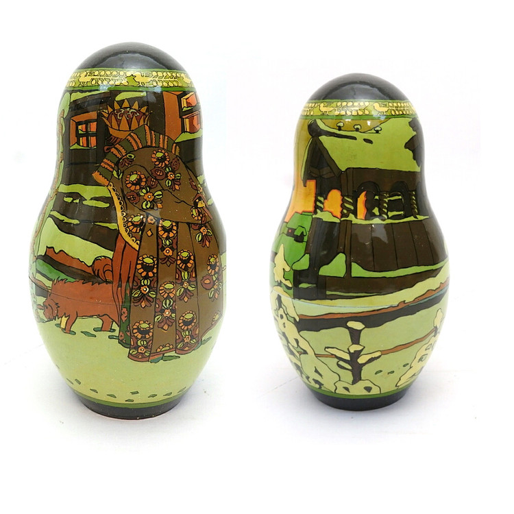 Tsar Saltan Bilibin Artistic Matryoshka  3rd Doll Front and Back