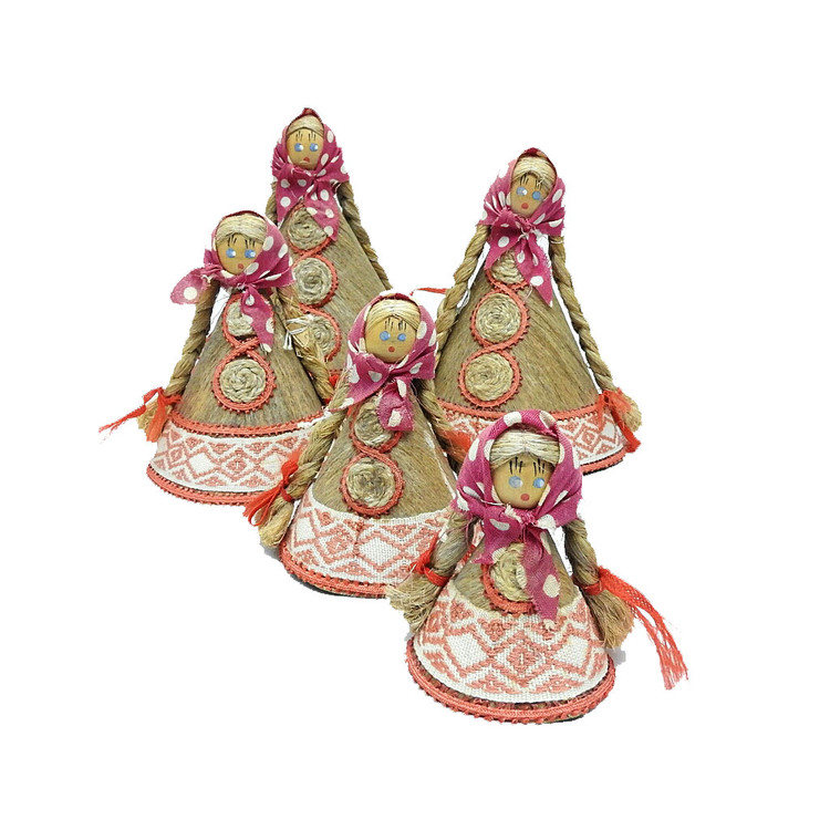 Vintage Belarus Flax Dolls, set of 5