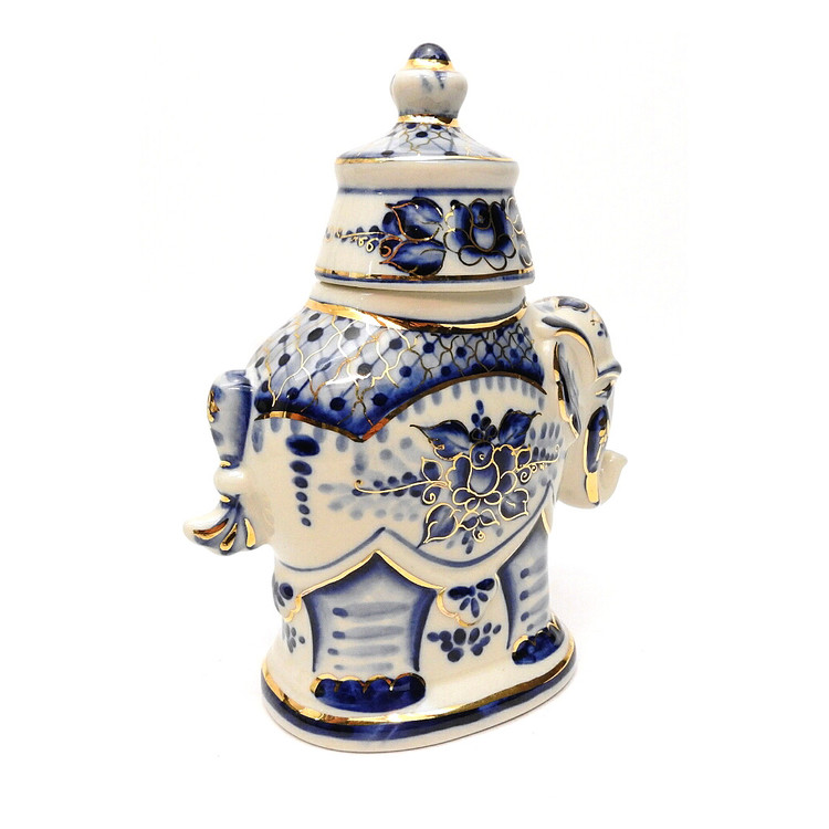 Gzhel Elephant Tea Caddy