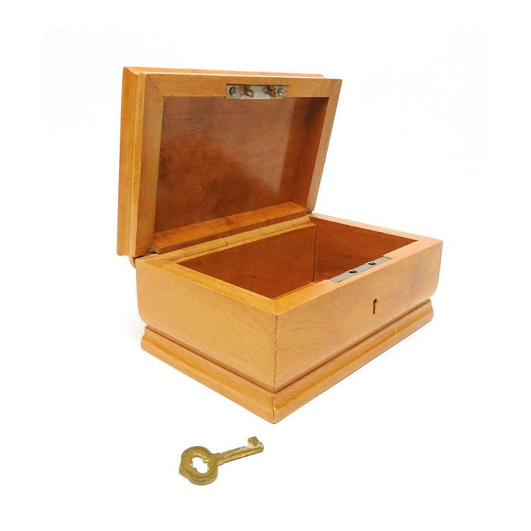 Golden Karelian Birch Box with Key