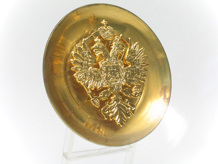 Russian Eagle Plate *Brass and Glass