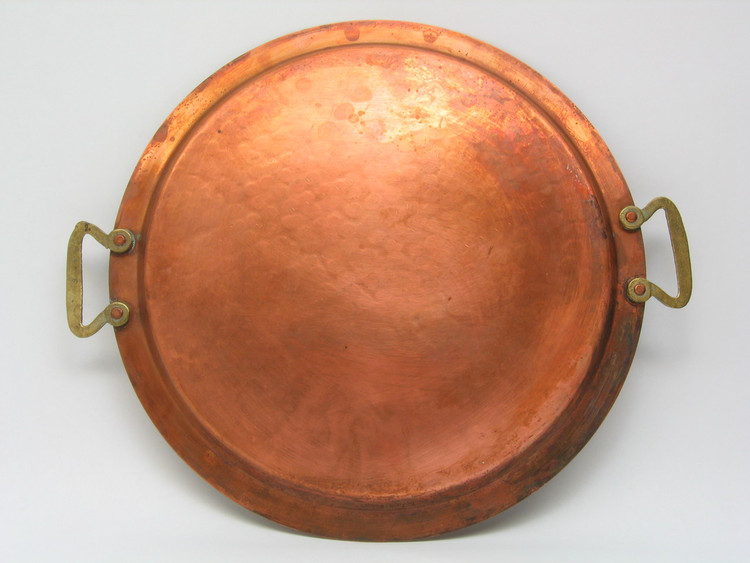 Pre-revolutionary copper tray with brass handles