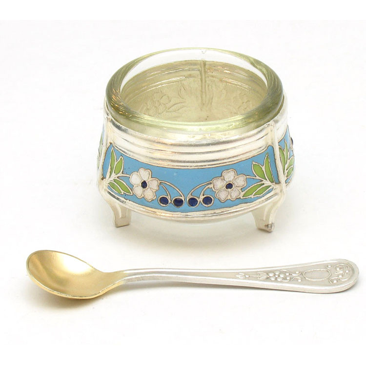 Russian Enamel Salt Cellar with Matching Spoon