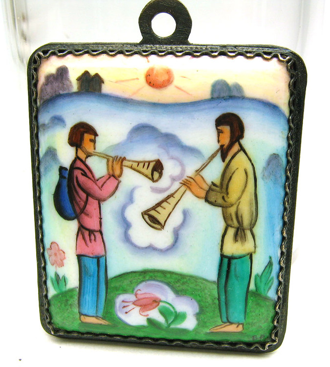 """Shepherd's Duet"" Miniature Finift Enamel Painted Pendant"