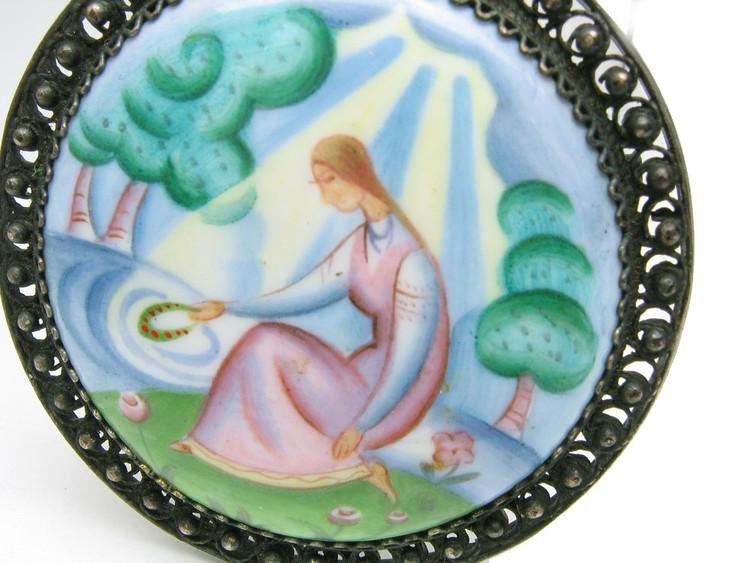 """""""Maiden by the Water"""" Finift Enamel Brooch"""