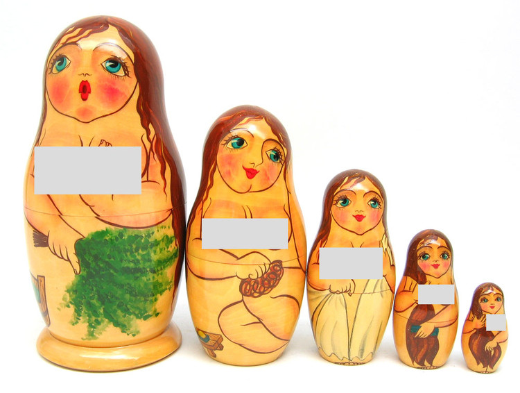 """Bathhouse Maidens"" Russian Nesting Doll (Censored view)"