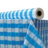 Atlantis Plastics Plastic Table Cover  40  x 300 ft Roll  Blue Gingham (ATL2TCB300GIN)
