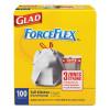 Glad ForceFlexPlus Tall Kitchen Drawstring Trash Bags  13 gal  0 72 mil  23 75  x 24 88   White  100 Box (CLO 70427)