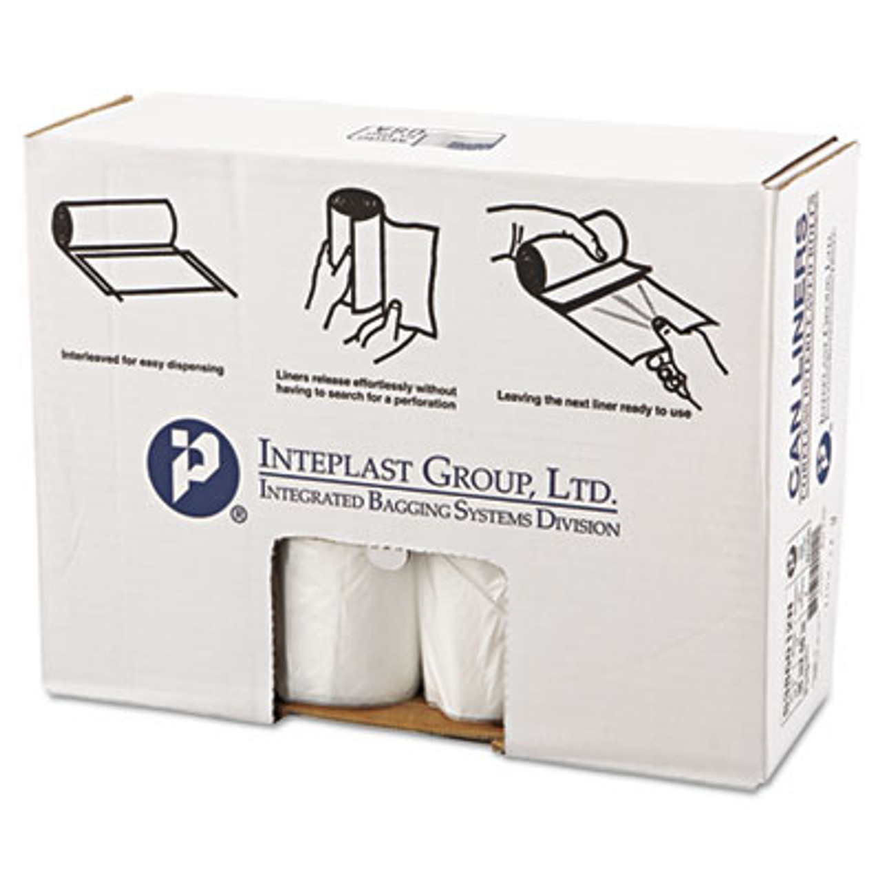 Clear 60-Gallon Roll of 25 Inteplast Group S386016N High-Density Can Liner 16 Micron 38 x 60 Case of 8 Rolls