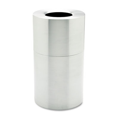 Rubbermaid Commercial 2-Piece Open Top Indoor Receptacle  Round  with Liner  35 gal  Satin Aluminum (RCP AOT35SA)