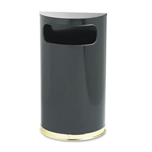 Rubbermaid Commercial European & Metallic Series Receptacle, Half-Round, 9gal, Black/Brass (RCP SO8-10BPL)