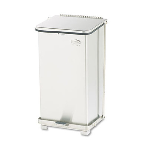 Rubbermaid Commercial Defenders Biohazard Step Can  Square  Steel  12 gal  Stainless Steel (RCP ST12SSPL)