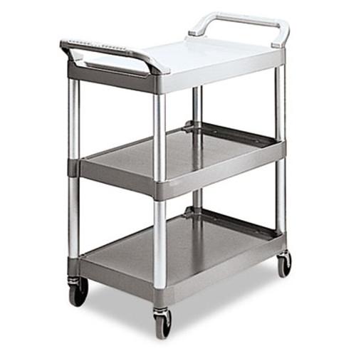 Rubbermaid Commercial Economy Plastic Cart  Three-Shelf  18 63w x 33 63d x 37 75h  Platinum (RCP 3424-88 PLA)