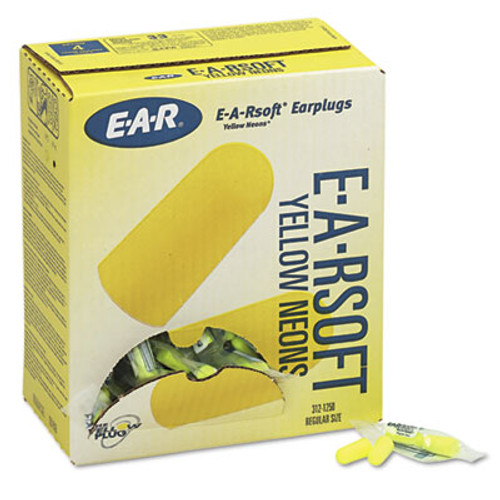 3M E·A·Rsoft Yellow Neon Soft Foam Earplugs, Uncorded, Regular Size, 200 Pairs (MMM3121250)