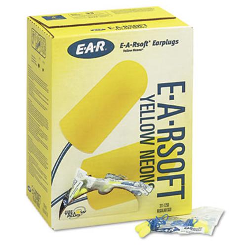 3M EA  AA  Rsoft Yellow Neon Soft Foam Earplugs  Corded  Regular Size  200 Pairs (MMM3111250)