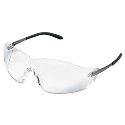 Crews Blackjack Wraparound Safety Glasses, Chrome Plastic Frame, Clear Lens (CWS S2110)