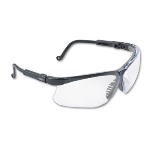 Honeywell Uvex Genesis Wraparound Safety Glasses, Black Plastic Frame, Clear Lens (UVX S3200)