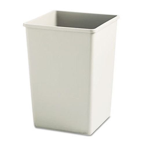 Rubbermaid Commercial Plaza Waste Container Rigid Liner  Square  Plastic  35 gal  Beige (RCP 3958 BEI)