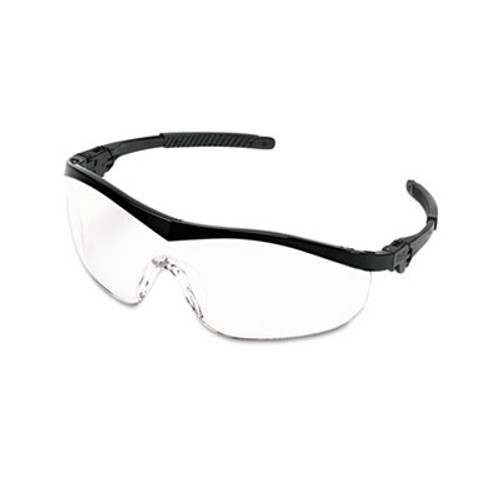 MCR Safety Storm Wraparound Safety Glasses  Black Nylon Frame  Clear Lens  12 Box (CWS ST110)