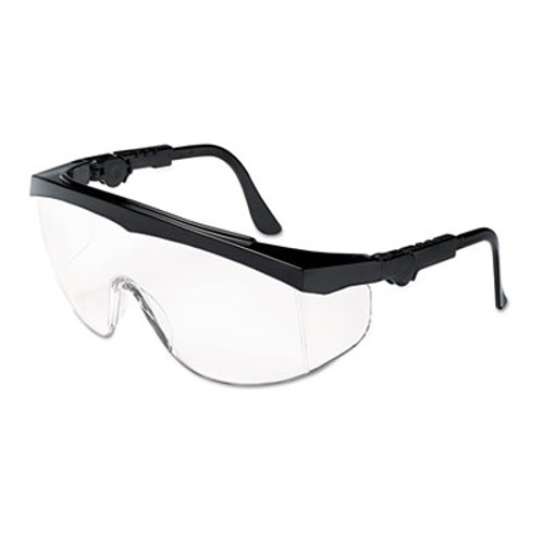 Crews Tomahawk Wraparound Safety Glasses, Black Nylon Frame, Clear Lens, 12/Box (CWS TK110)