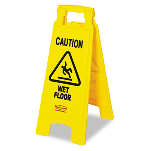 Rubbermaid Commercial Caution Wet Floor Floor Sign  Plastic  11 x 12 x 25  Bright Yellow (RCP 6112-77 YEL)
