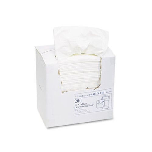 Draw 'n Tie Heavy-Duty Trash Bags  13 gal  0 9 mil  24 5  x 27 38   White  200 Box (WEB 1DK200)