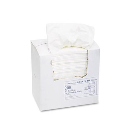 Draw 'n Tie Heavy-Duty Trash Bags  13 gal  0 9 mil  24 5  x 27 38   White  200 Box (WEB 1DK200)