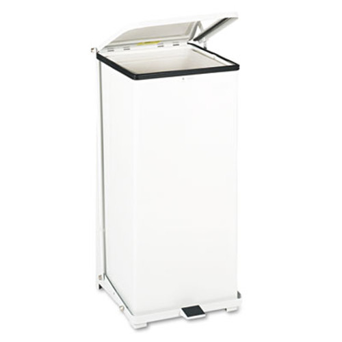 Rubbermaid Commercial Defenders Biohazard Step Can  Square  Steel  24 gal  White (RCP ST24EPLWH)