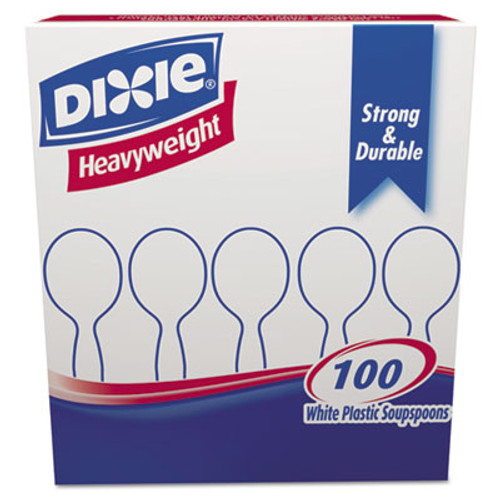 Dixie Plastic Cutlery  Heavyweight Soup Spoons  White  100 Box (DXESH207)