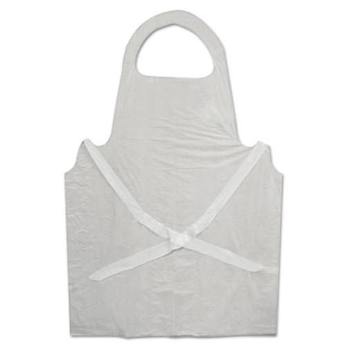 Boardwalk Disposable Apron, White, Polyethylene, 32 in. x 50 in., 1 mil, One Size, 100/Pk (BWK 390)