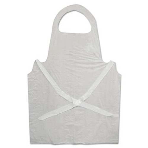 Boardwalk Disposable Apron, White, Polyethylene, 32 in. x 50 in., 1 mil, One Size, 100/Pk (BWK 390)