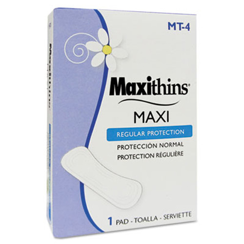 HOSPECO Maxithins Vended Sanitary Napkins  4  250 Individually Boxed Napkins Carton (HOS MT-4)