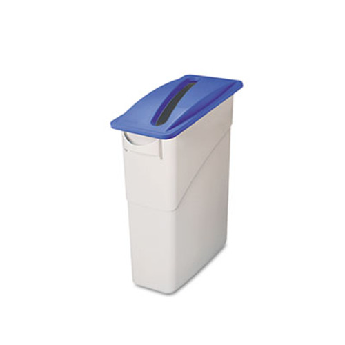 Rubbermaid Commercial Slim Jim Paper Recycling Top  20 38w x 11 38d x 2 75h  Dark Blue (RCP 2703-88 BLU)