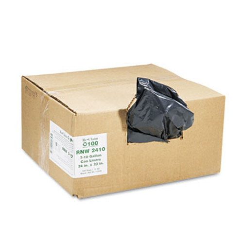 Earthsense Commercial Linear Low Density Recycled Can Liners  10 gal  0 85 mil  24  x 23   Black  500 Carton (WEB RNW2410)