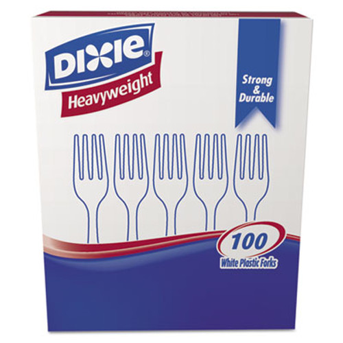 Dixie Plastic Cutlery, Heavyweight Forks, White, 100/Box (DXEFH207)