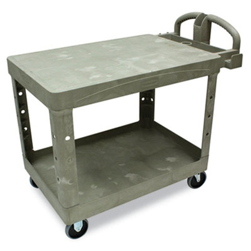 Rubbermaid Commercial Flat Shelf Utility Cart  Two-Shelf  25 25w x 44d x 38 13h  Beige (RCP 4525 BEI)