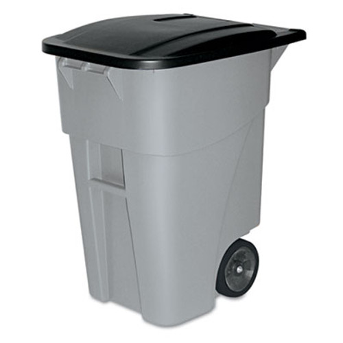 Rubbermaid Commercial Brute Rollout Container  Square  Plastic  50 gal  Gray (RCP 9W27 GRA)
