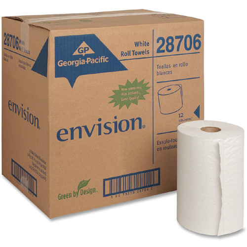 Georgia Pacific Professional Pacific Blue Basic Nonperforated Paper Towels  7 7 8 x 350ft  White  12 Rolls CT (GPC 287-06)