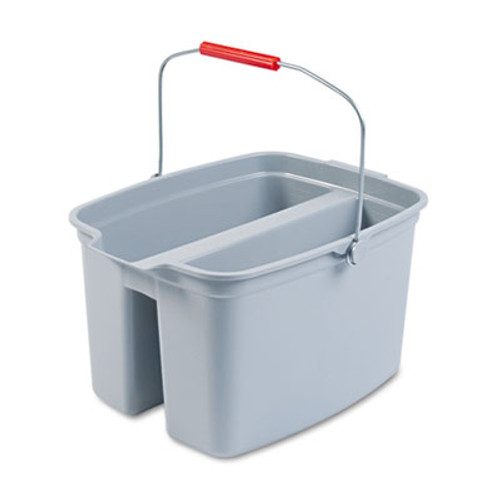 Rubbermaid Commercial 19 Quart Double Utility Pail  18 x 14 1 2 x 10  Gray Plastic (RCP 2628-88 GRA)