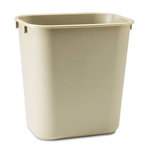 Rubbermaid Commercial Deskside Plastic Wastebasket, Rectangular, 3 1/2 gal, Beige (RCP 2955 BEI)