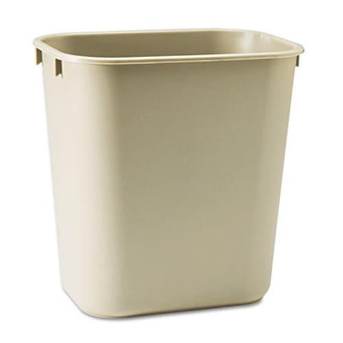 Rubbermaid Commercial Deskside Plastic Wastebasket  Rectangular  3 5 gal  Beige (RCP 2955 BEI)
