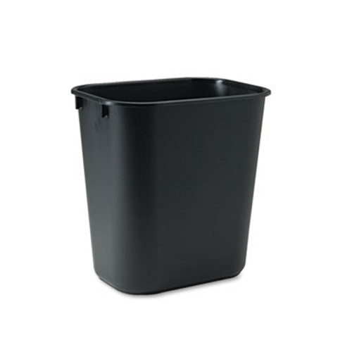 Rubbermaid Commercial Deskside Plastic Wastebasket, Rectangular, 3 1/2 gal, Black (RCP 2955 BLA)